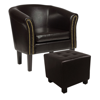 Picture of Living Room Armchair Tub Chair Chesterfield with Footstool Antique - Brown