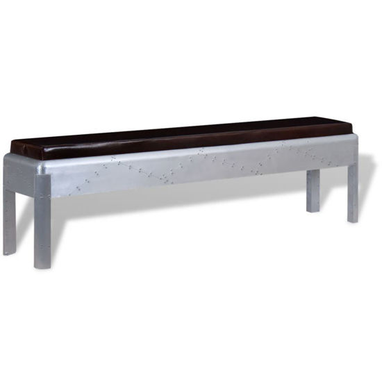 """Picture of Living Room Bench Genuine Leather Aviator 63"""""""