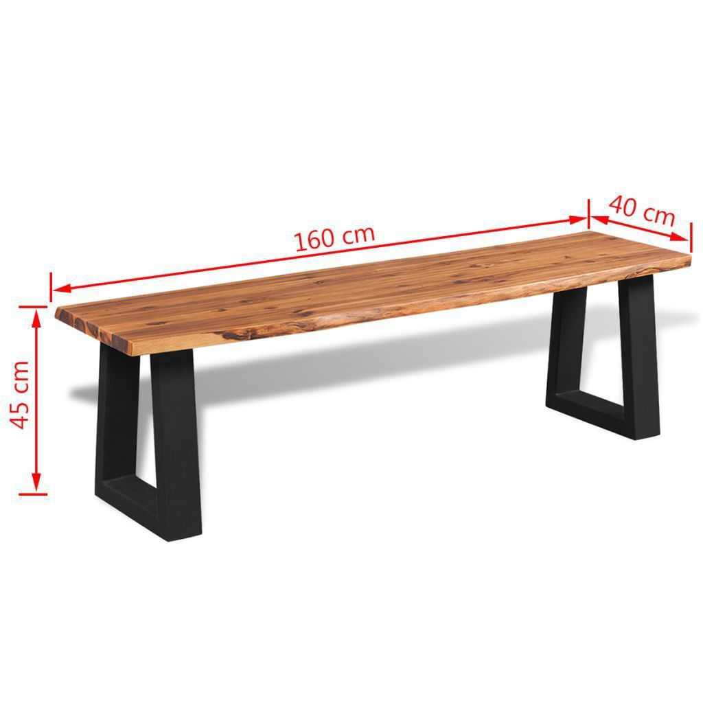 Picture of Living Room Bench Solid Acacia Wood - 63""