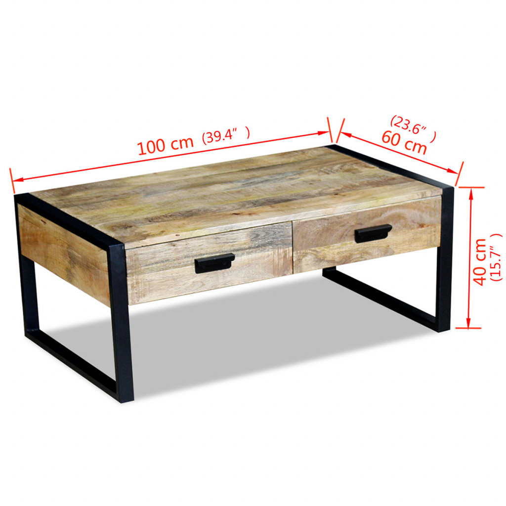 Picture of Living Room Coffee Table with Drawers - Mango Wood