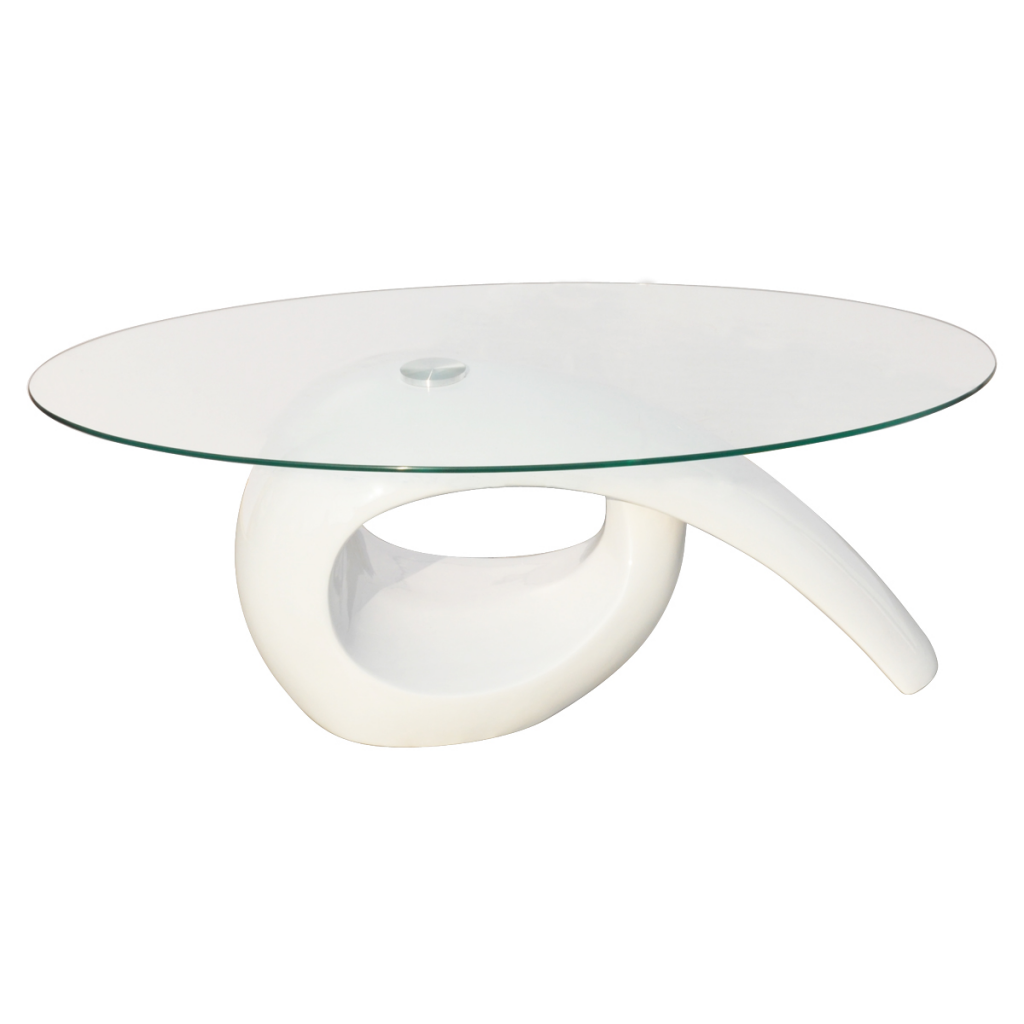 Picture of Living Room Glass Top Coffee Table High Gloss - White