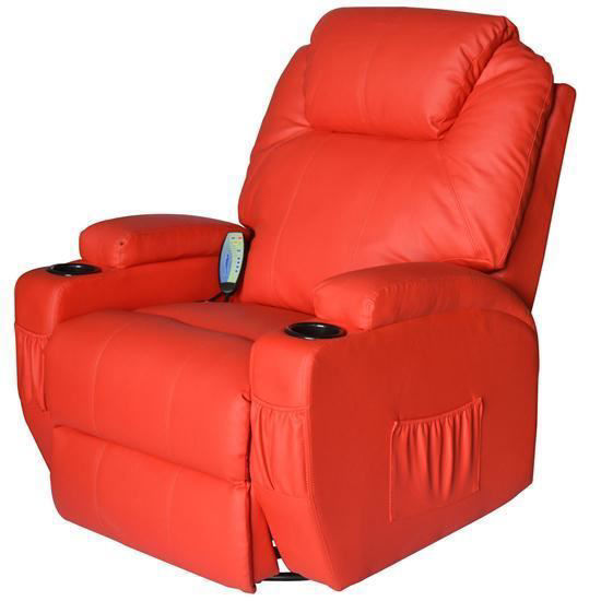 Picture of Living Room Recliner Massage Chair Heated Vibrating PU Leather - Red