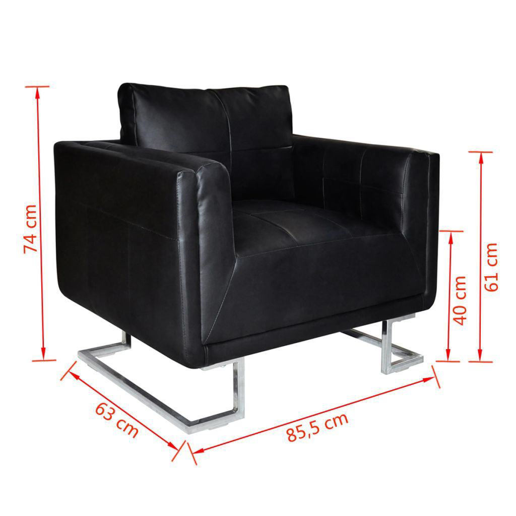 Picture of Luxury Cube Leather Armchair High Quality Black Chrome Feet