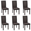 Picture of Modern Artificial Leather Wooden Dining Chairs - 6 pcs Brown