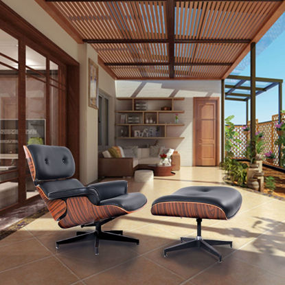 Picture of Modern Wood Eames Style Lounge Chair & Ottoman Set Armchair
