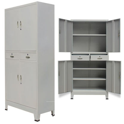 "Picture of Office Filing Cabinet with 4 Doors 35"" - Gray"