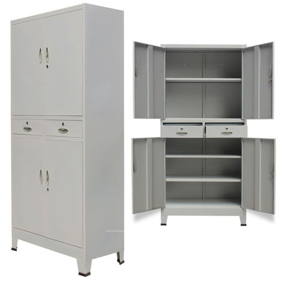 """Picture of Office Filing Cabinet with 4 Doors 35"""" - Gray"""