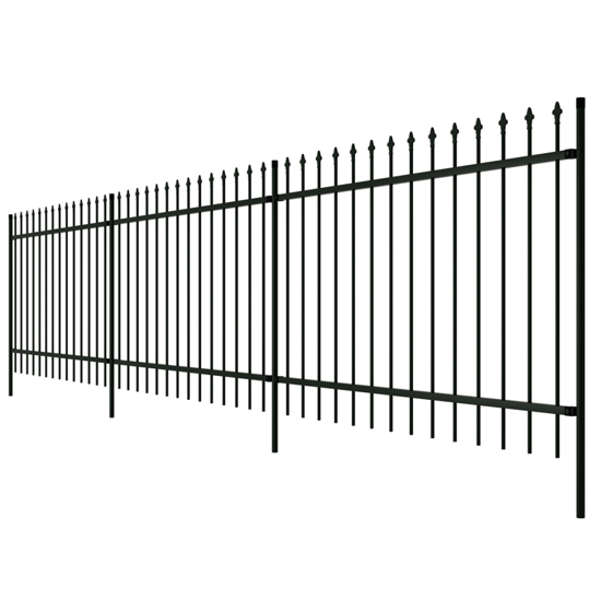 Picture of Ornamental Security Palisade Fence Steel Black Pointed Top 3' 3""