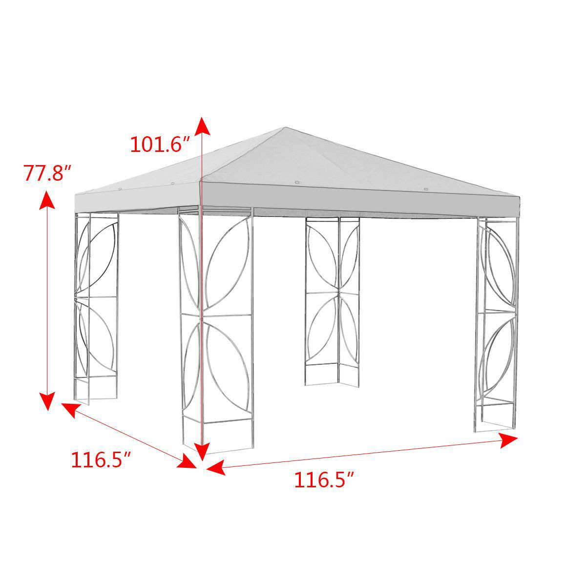 Picture of Outdoor 10'x 10' Gazebo Tent Steel Frame and Beige Cover