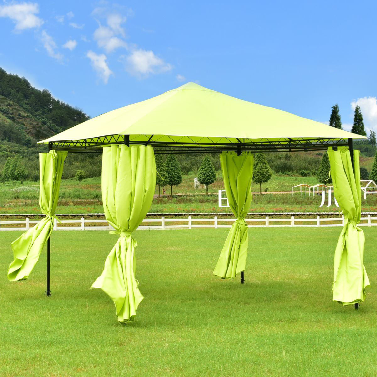 Picture of Outdoor 10'x10' Patio Canopy Tent Gazebo with 4 Walls - Bright Green