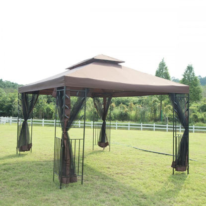 Picture of Outdoor 12'x10' Patio Gazebo Steel Frame with Netting - Brown