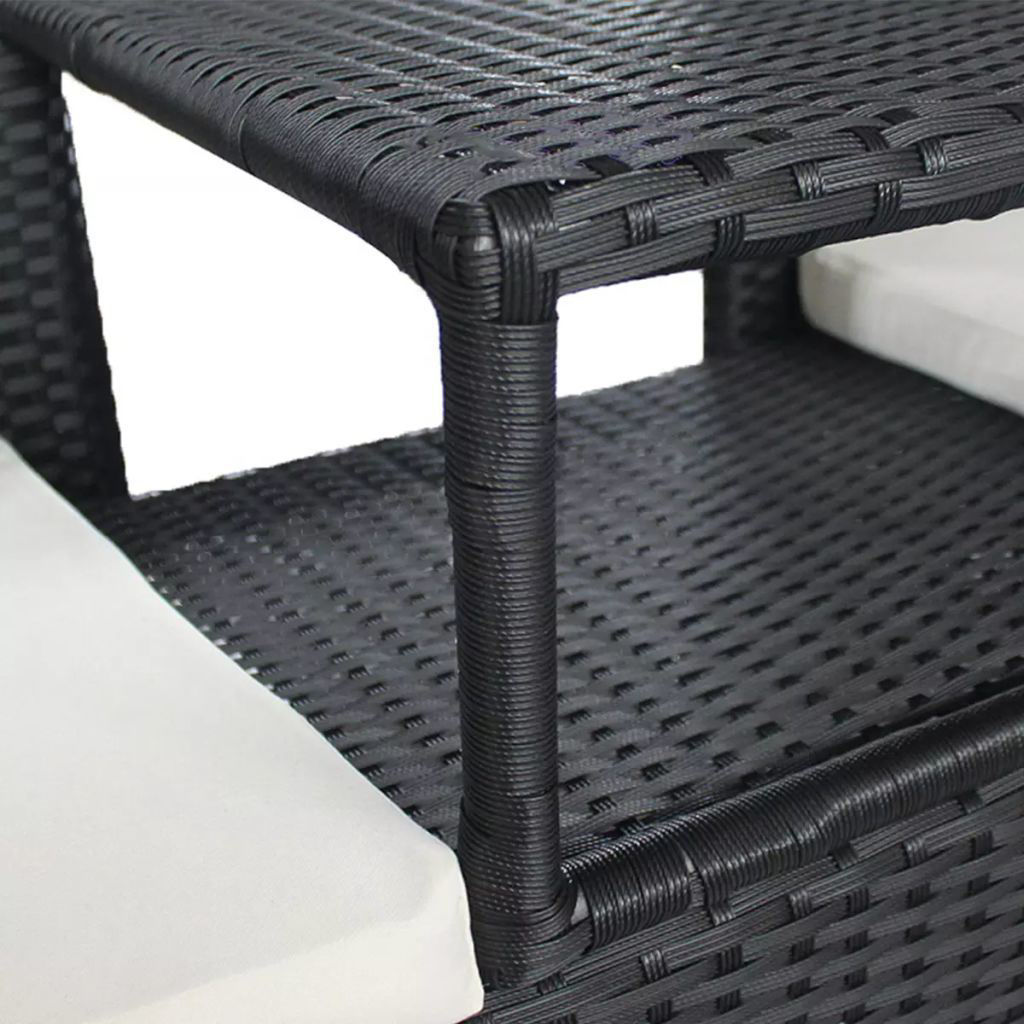 Picture of Outdoor 2-Seater Garden Bench with Tea Table - Poly Rattan - Black
