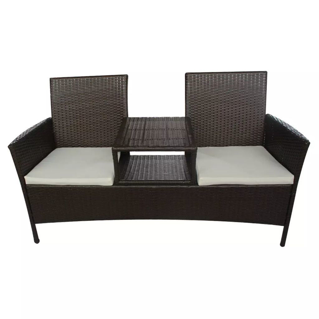 Picture of Outdoor 2-Seater Garden Bench with Tea Table - Poly Rattan - Brown