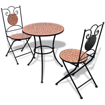 "Picture of Outdoor Bistro Table 23"" with 2 Chairs - Mosaic - Terracotta"