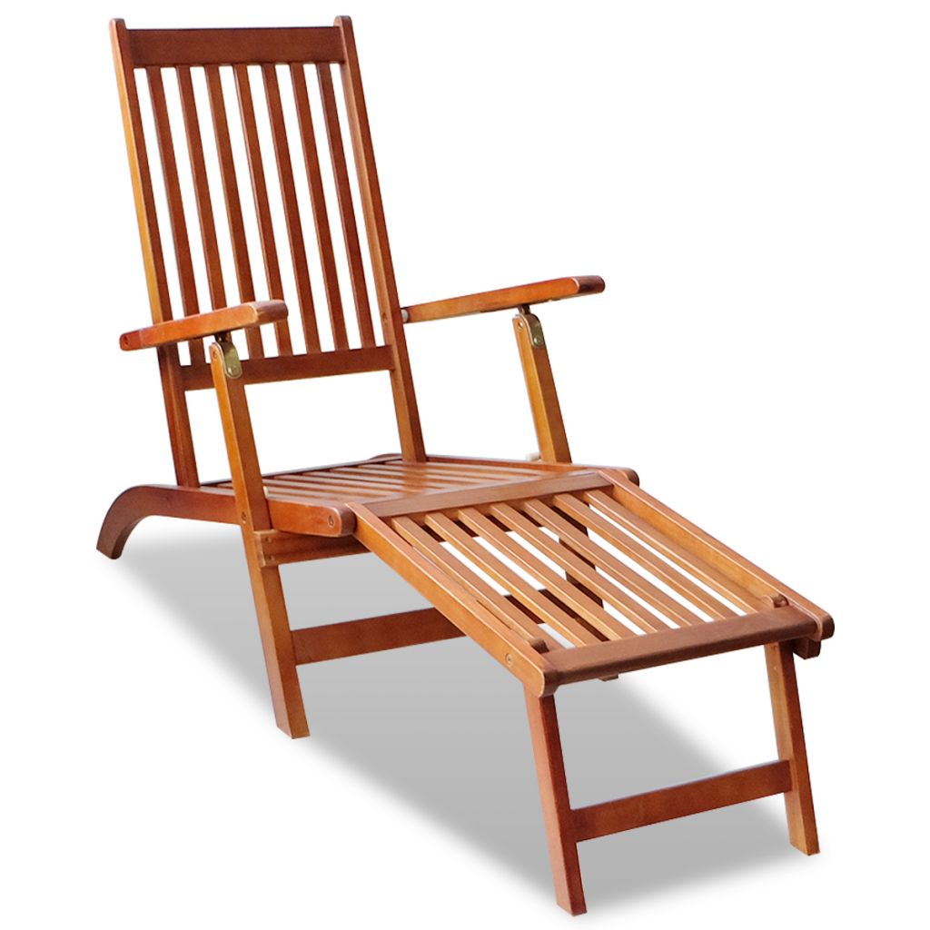 Picture of Outdoor Deck Chair with Footrest Acacia Wood