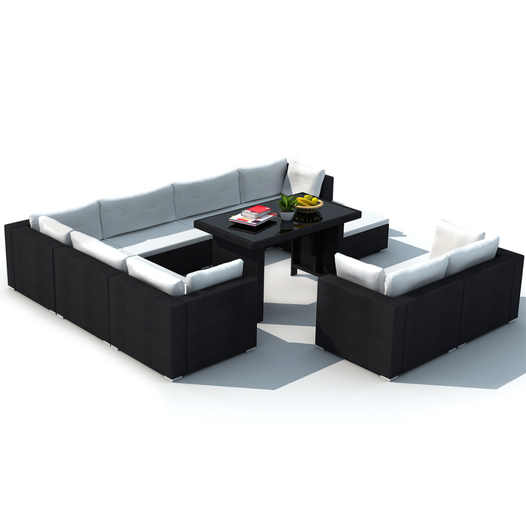 Picture of Outdoor Dining Furniture Lounge Seat Set PE Wicker Poly Rattan - Black 28 pcs