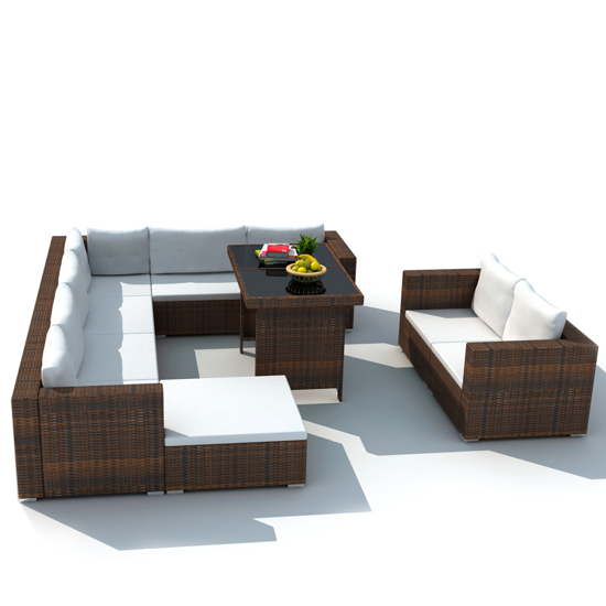 Picture of Outdoor Dining Furniture Lounge Seat Set PE Wicker Poly Rattan - Brown 28 pcs