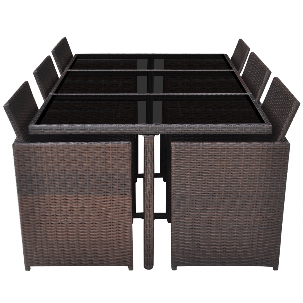 Picture of Outdoor Dining Set Poly Rattan - 27 pcs Brown
