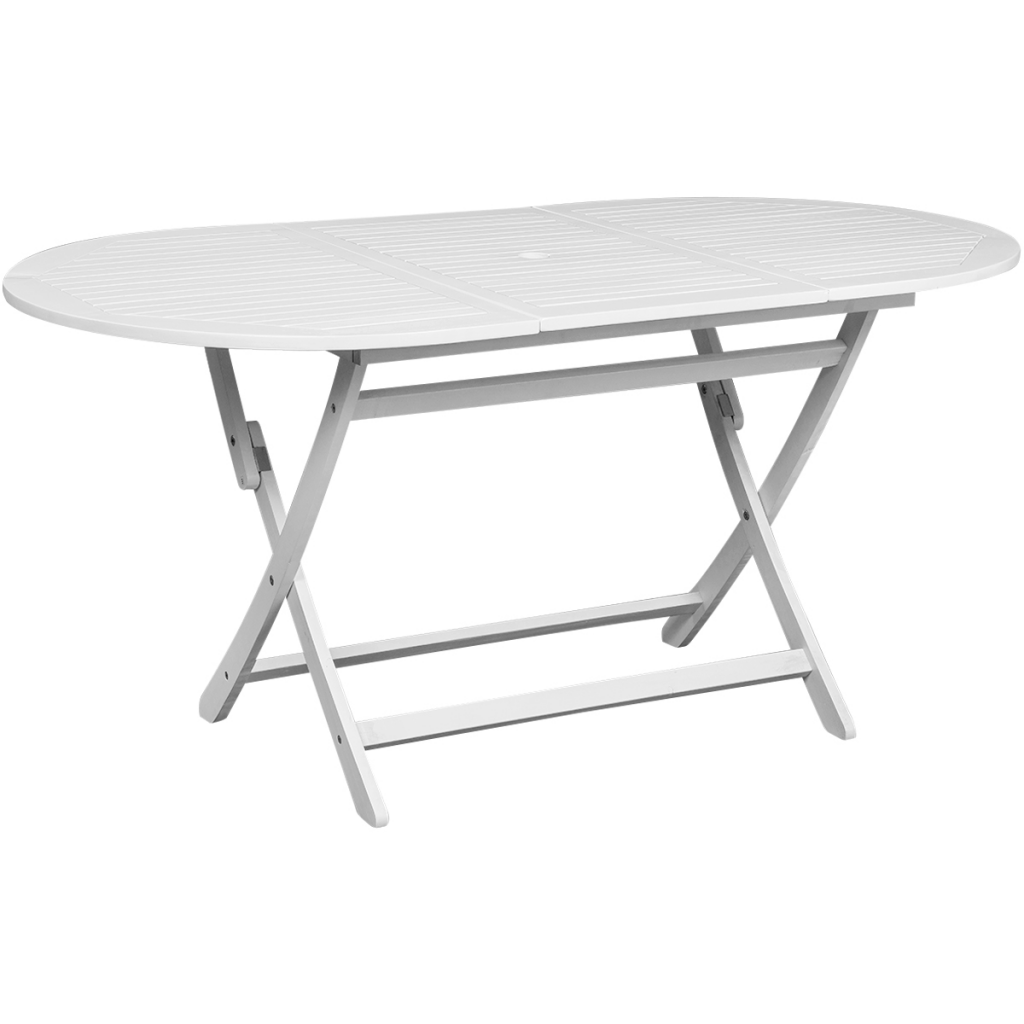 Picture of Outdoor Dining Table Oval Acacia Wood - White
