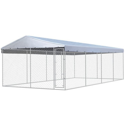 Picture of Outdoor Dog Kennel with Roof Galvanized Steel 25x13
