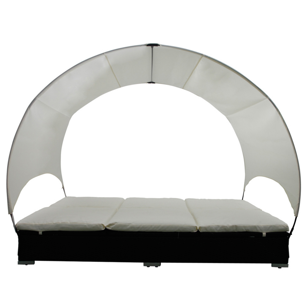 Picture of Outdoor Double Rattan Lounge Bed with Umbrella - Black