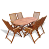 Picture of Outdoor Foldable Dining Set Wood - 7 pcs