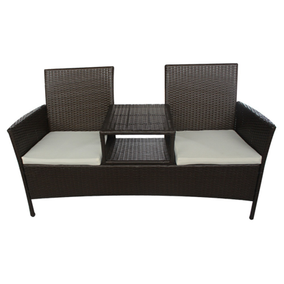 Picture of Outdoor Furniture 2-Seater Bench with Tea Table Poly Rattan - Brown