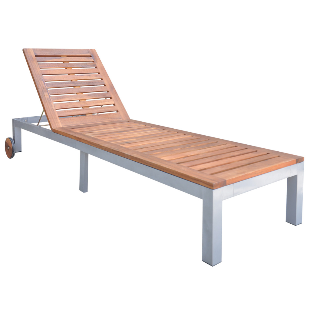 Picture of Outdoor Furniture Chaise Daybed Sun Lounger - Acacia Wood