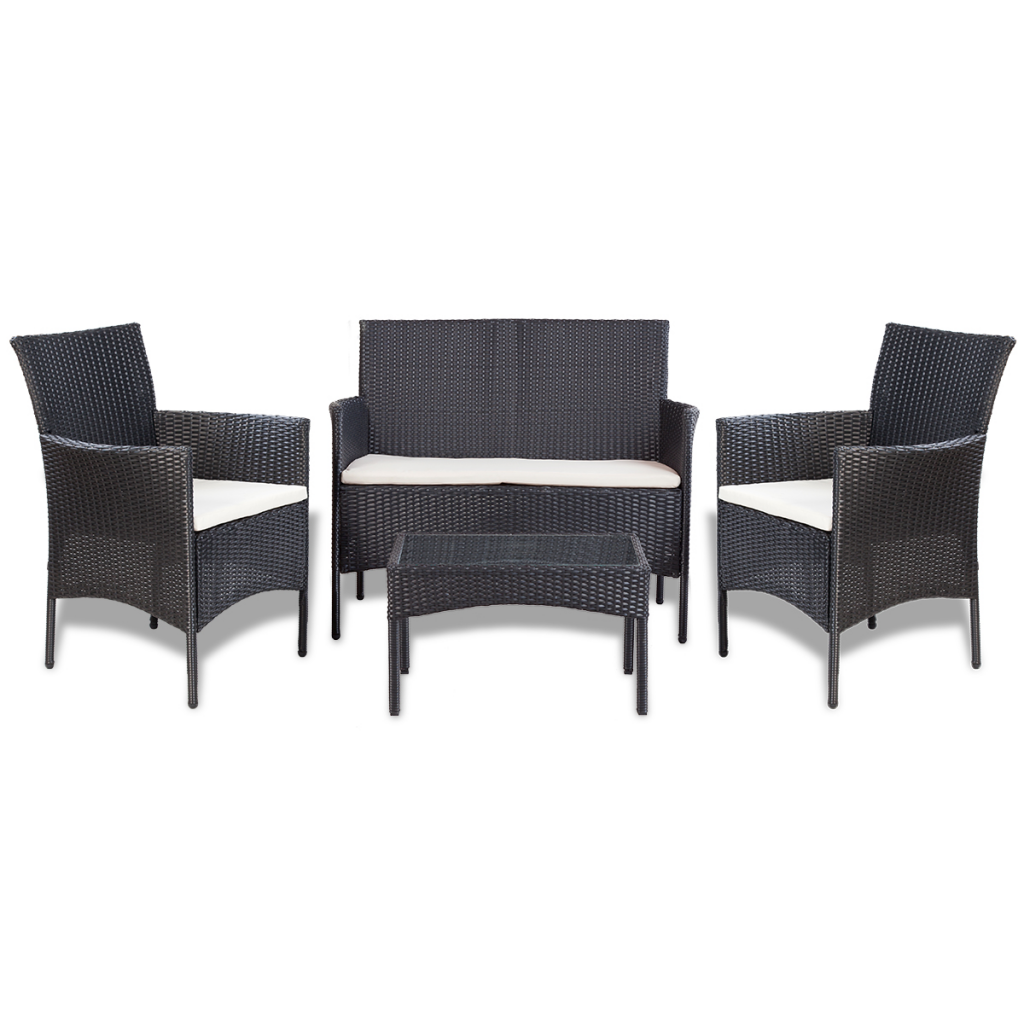 Picture of Outdoor Furniture Cushioned Lounge Sofa and Table Set Wicker Poly Rattan - 4 pcs Black