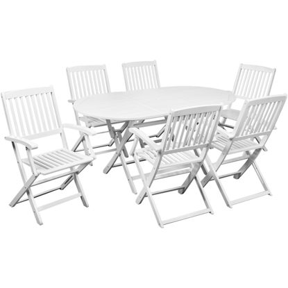 Picture of Outdoor Furniture Dining Set 7 pcs - White Acacia Wood