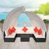 Picture of Outdoor Furniture Sofa Cushioned Lounge Set with Canopies Poly Rattan - Black