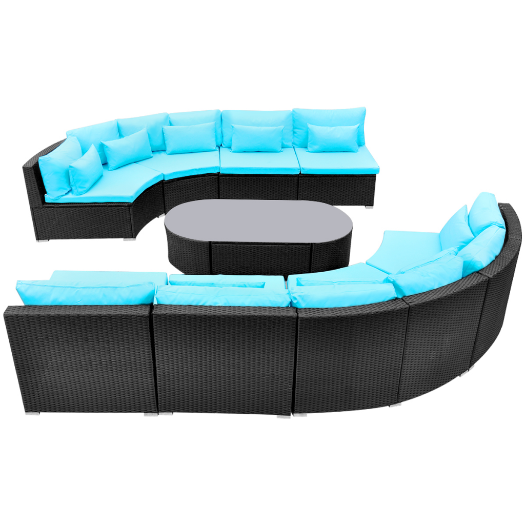 Picture of Outdoor Furniture Sofa Seating Set with Sun Loungers Poly Rattan - Tropical Blue