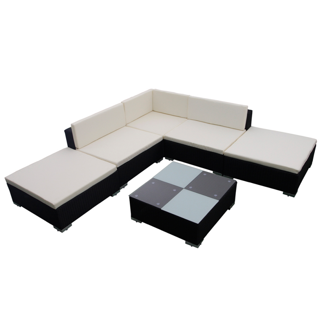Picture of Outdoor Garden Lounge Set Poly Rattan - Black 15 Piece