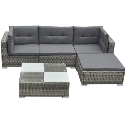 Picture of Outdoor Garden Sofa Set - Poly Rattan - Gray