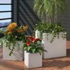 Picture of Outdoor Garden Square Rattan Planter Set 3 pcs - White