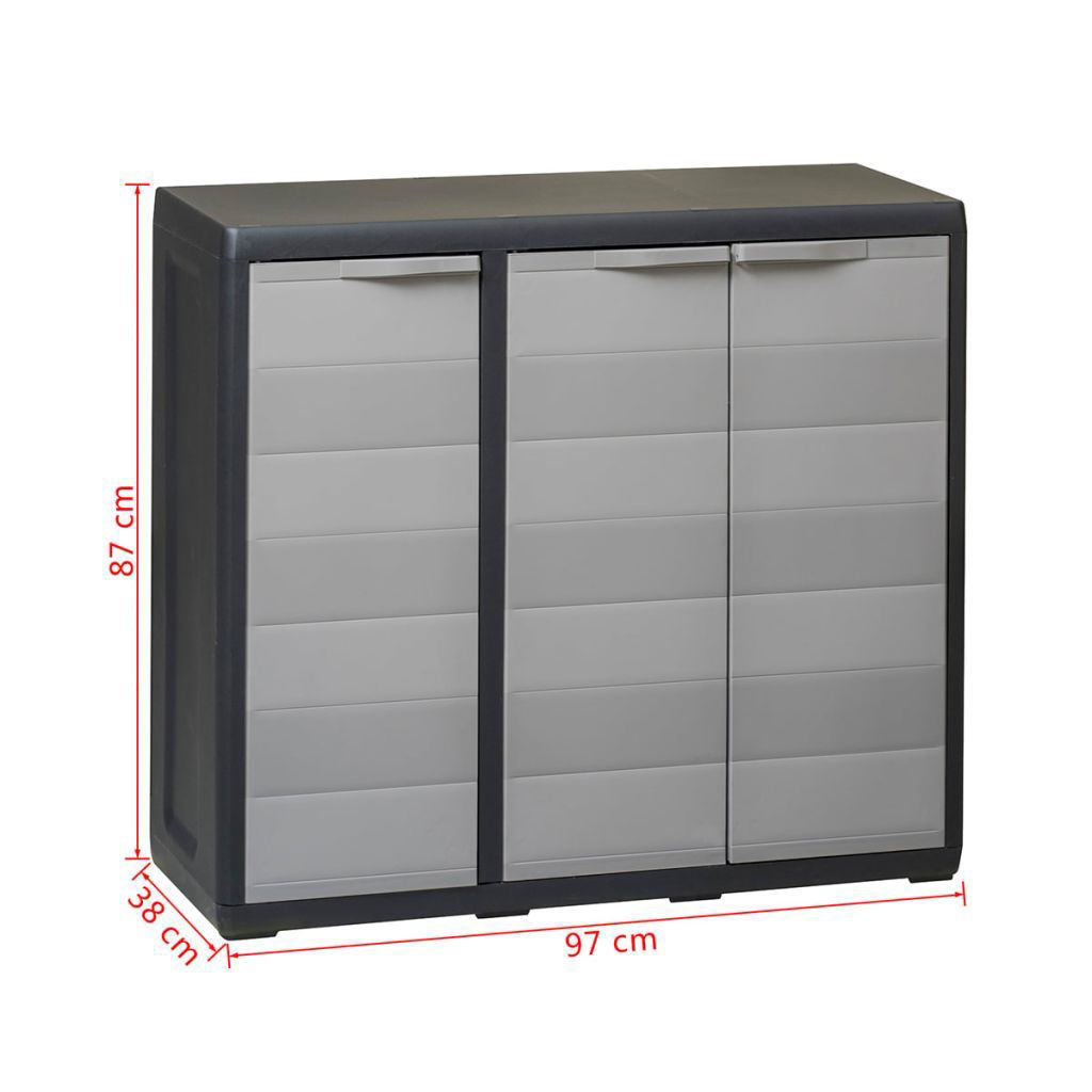 Picture of Outdoor Garden Storage Cabinet with 2 Shelves - Black and Gray