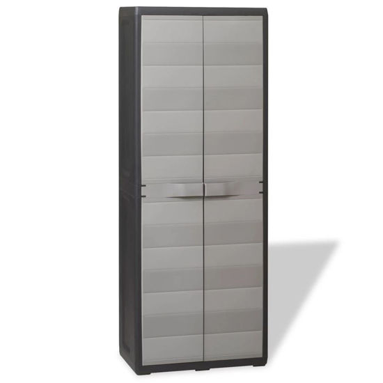 Picture of Outdoor Garden Storage Cabinet with 3 Shelves - Black and Gray