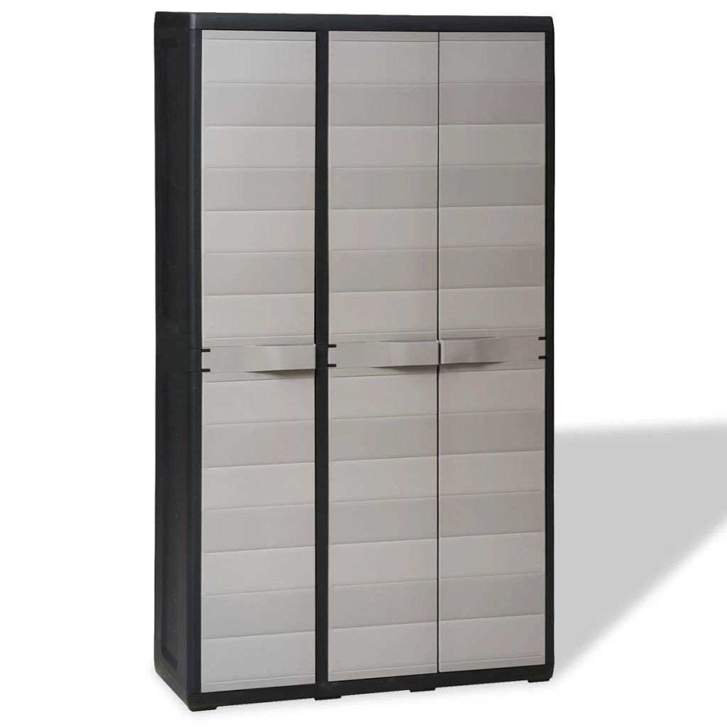 Picture of Outdoor Garden Storage Cabinet with 4 Shelves - Black and Gray