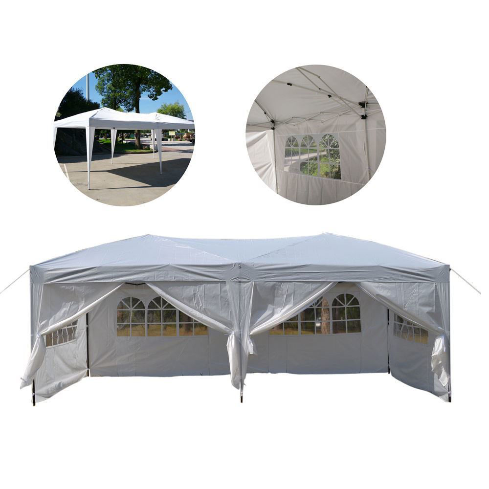 "Picture of Outdoor Gazebo Tent 10' x 20"" Easy Pop Up with 6 Walls - White"
