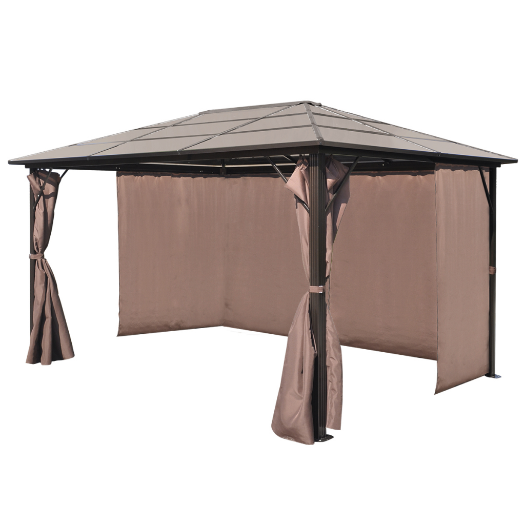 Picture of Outdoor Gazebo with Brown Curtain Aluminum 13' x 10' Weather-resistant