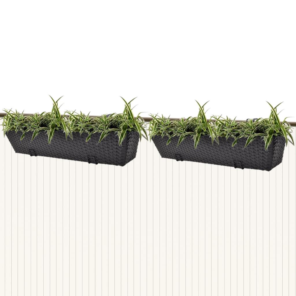 "Picture of Outdoor Hanging Rattan Planter Set 30""- 2 pcs Black"