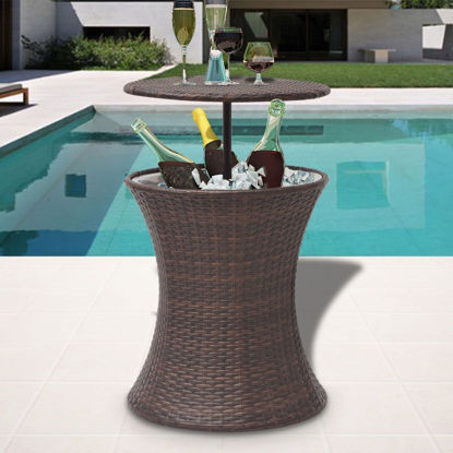 Picture of Outdoor Ice Cooler Bucket Table Poly Rattan - Brown