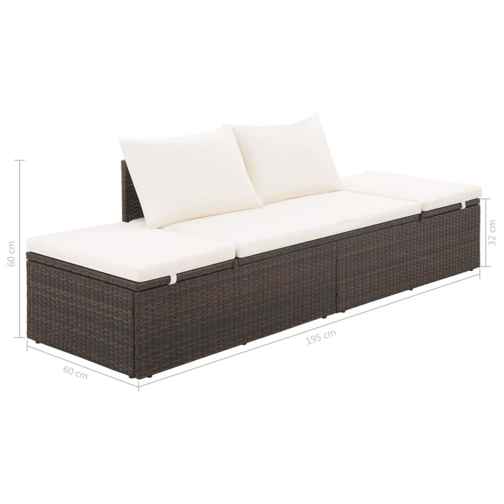 """Picture of Outdoor Lounge Bed 76"""" - Poly Rattan - Brown"""