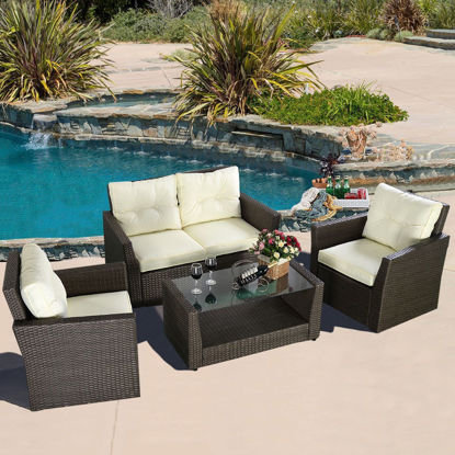 Picture of Outdoor Patio Furniture Set Wicker Rattan - 4 Piece
