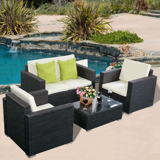 Picture of Outdoor Patio Furniture Set with Cushioned Seat - 4 Pcs