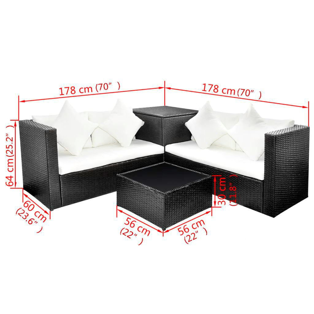 Picture of Outdoor Lounge Set - Poly Rattan - Black