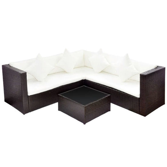Picture of Outdoor Lounge Set - Poly Rattan - Brown