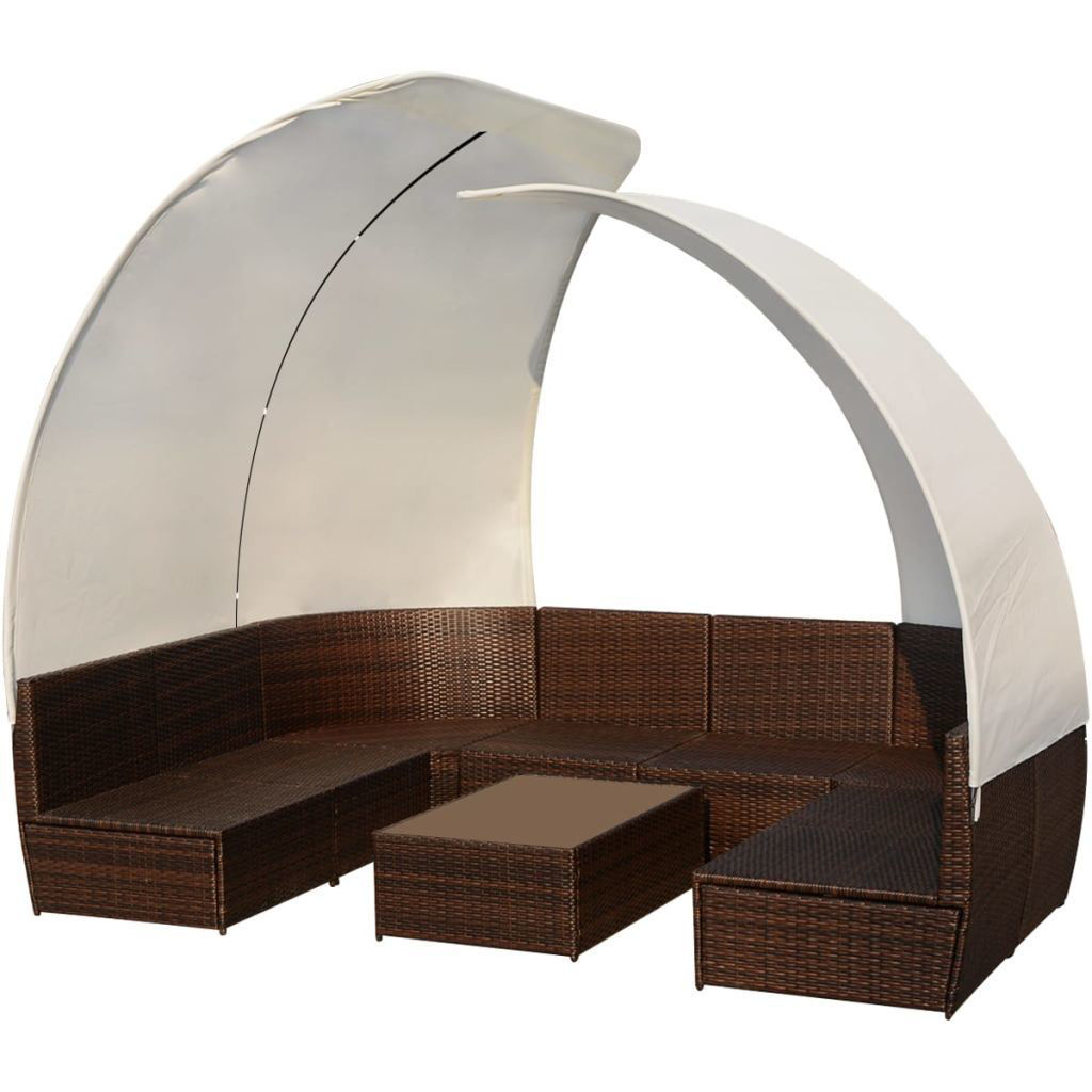 Picture of Outdoor Lounge Set with Canopies - Poly Rattan - Brown
