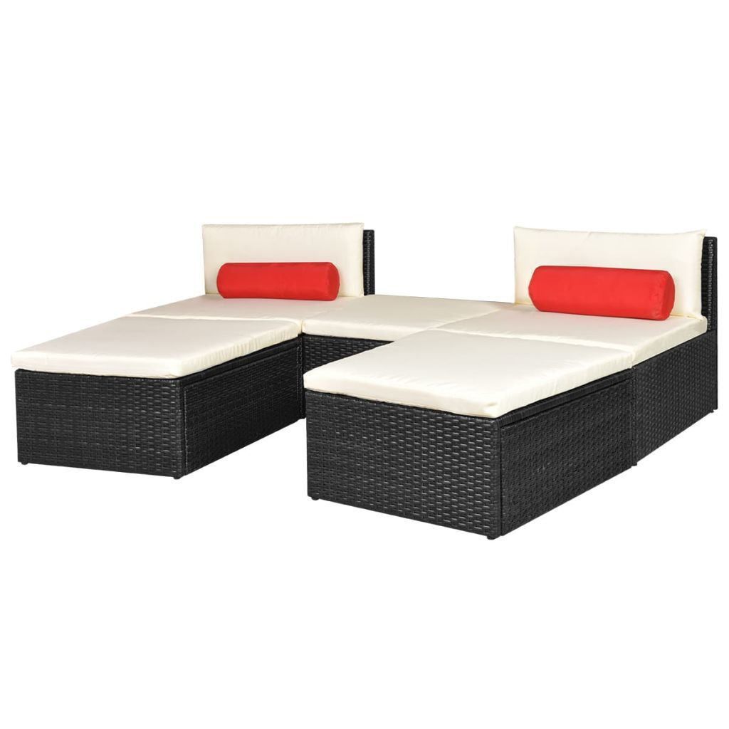 Picture of Outdoor Modular Sun Lounger Set - Poly Rattan - Black