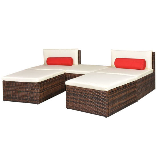 Picture of Outdoor Modular Sun Lounger Set - Poly Rattan - Brown